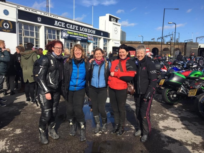 Lady motorcyclists at the Ace Cafe in London for the WRWR lunch event