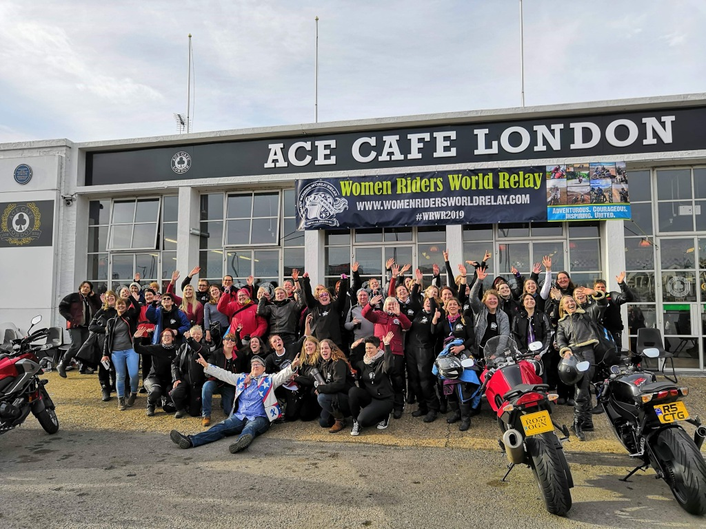 Lady motorcyclists outside Ace Cafe for WRWR launch event