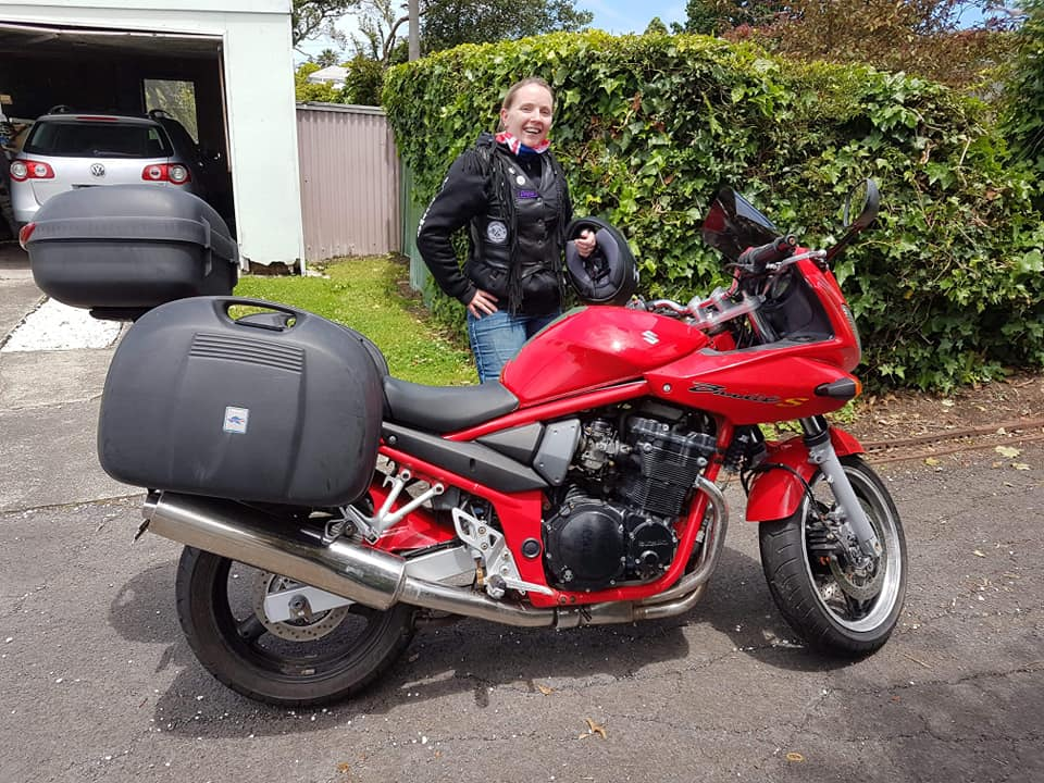 A Red and Black Suzuki GSF 650cc Bandit 2005