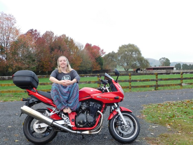 Sitting on my motorbike in the New Zealand countryside