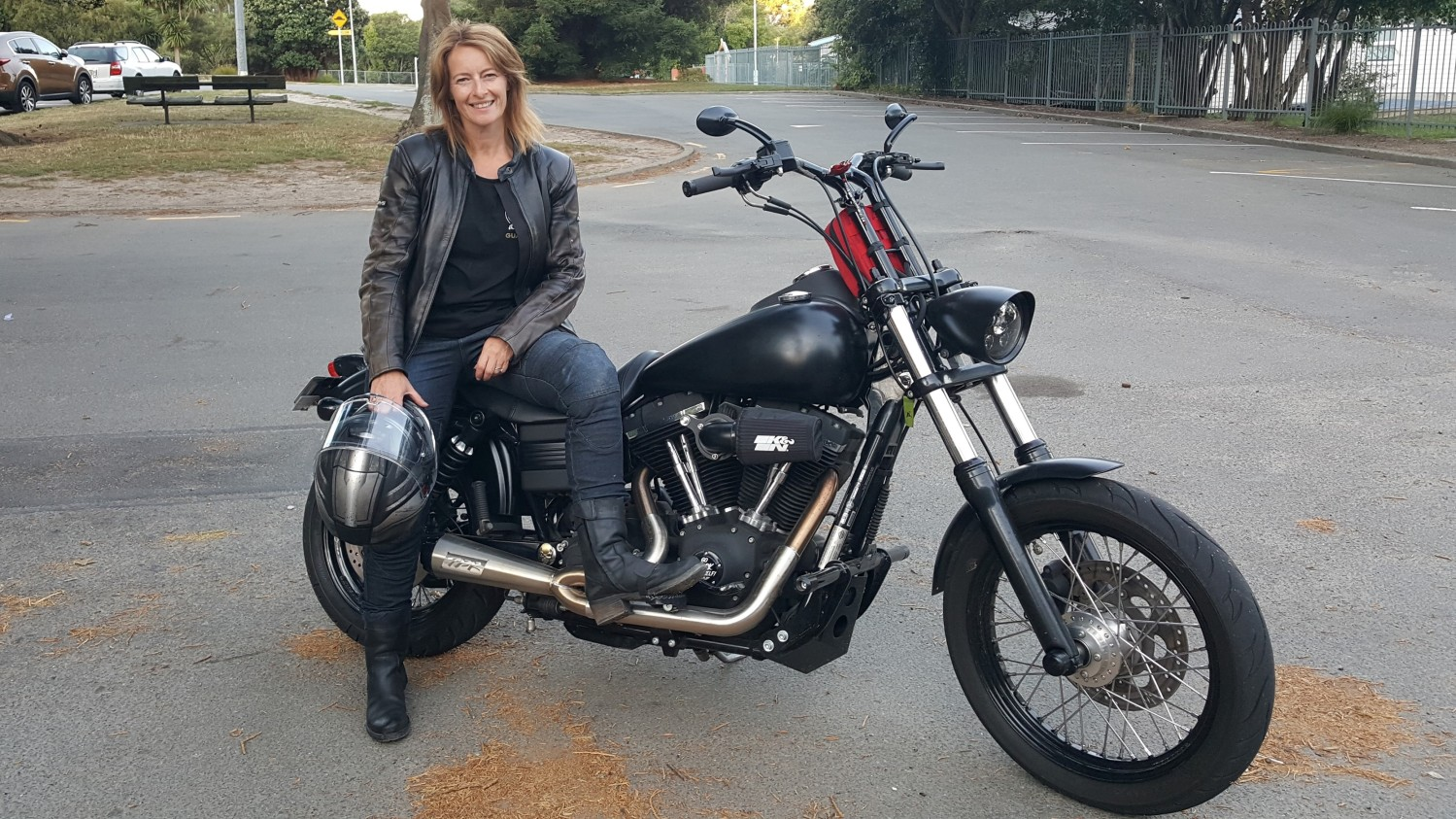 Jenny Hibbert the lady biker who has taken on the role as Women Riders World Relay, ambassador for New Zealand